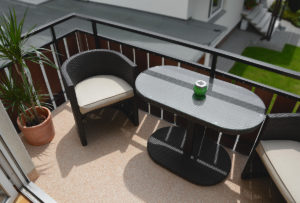 Balkon mit Lithol Steinteppich